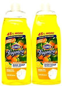 2 Bottles Clorox Fraganzia 22 Oz Limited Edition Orange Zest Liquid Dish Soap