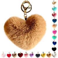 Heart Shape Pink Fluffy Fur Ball PomPom Keychain Handbag Pendant Charm Key Ring