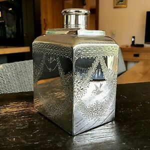 FRENCH ANTIQUE SILVER PLATED TEA CADDY CANNISTER 19THC LOVELY QUALITY IN VGC