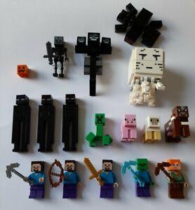 Lego Minecraft minifigures bundle Wither Ghast Creeper Enderman Spider Steve ...