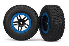 Traxxas 1/10 Slash 4x4 VXL * 2 MUD-TERRAIN TIRES W/BLACK BLUE BEADLOCK WHEELS *