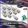 10 x ampoule veilleuse Feu LED W5W T10 BLANC XENON 6500k voiture auto moto 5 smd