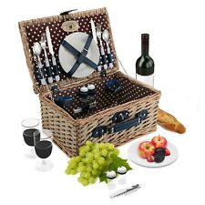 2 Person Wicker Picnic Basket Set | Plates, Wine Glasses, Cutlery, S/P Shakers