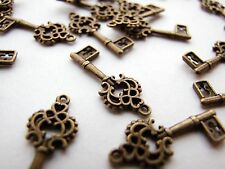 Antique Bronze Key Charms 20pcs Design 1 Steampunk Vintage Gold Pendants Kitsch