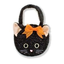 North American Bear Co Black Cat Purse Goody Bag Orange Halloween Tote Cloth NEW