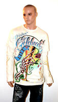 CHRISTIAN AUDIGIER Ed Hardy LONG SLEEVE SHIRT Bling RHINESTONE Studded LIFE 2XL