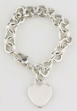 Tiffany & Co. Sterling Silver Blank Heart Tag Charm Bracelet Retails $285