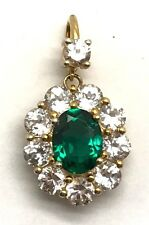 Sterling Silver Gold Tone Oval Green Tourmaline - CZ Halo Flower Dangle Pendant