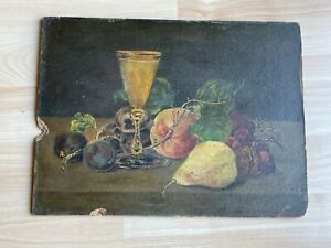 Antique Still Life Oil on Board Painting of Fruit & Glass Goblet