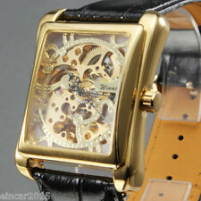 Winner Men's Square Golden Skeleton Automatic Mechanical Sport Army Wrist watch