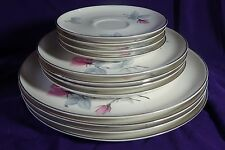 12 PC SYRACUSE CHINA MID CENTURY BRIDAL ROSE PLATES 4 Dinner, 4 Lunch 4 Saucers