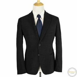 NWOT Giorgio Armani Black Wool Mix Houndstooth Textured Unstructured Jacket 40S