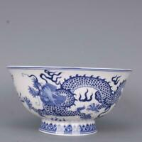 """6.1"""" Collect Chinese Blue and White Porcelain Auspicious Cloud Two Dragon Bowl"""