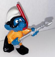 20120 Scuba Diver Smurf 2-inch Plastic Figurine Vintage Figure 1979 Peyo