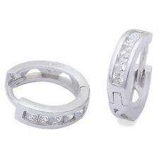 Cz Channel Set Princess Cut Hoop .925 Sterling Silver Earrings