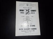 DERBY COUNTY  reserves  v  BOLTON  WANDERERS  reserves  1965/6  ~ APRIL 23rd