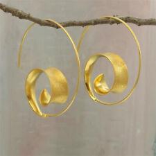 Simple Classic 18k Yellow Plated Hoop Earrings Women Fashion Bride Ear Jewelry