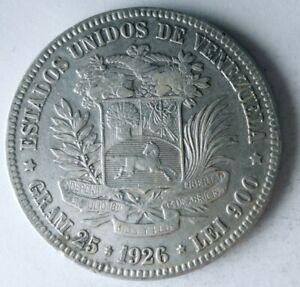 1926 VENEZUELA 5 BOLIVARES - HIGH VALUE - Excellent Silver Coin - Lot #L28