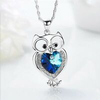 Handmade Mother's day Gift Owl Design Sapphire Sterling Silver Necklace Pendant
