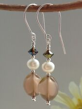 Vintage Mocha Givre Glass, FW Pearls & Topaz Crystals Sterling Silver Earrings