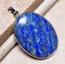 "Blue Pyrite Lapis Lazuli Jasper Natural Gemstone 1 3/4"" Silver Pendant #058"
