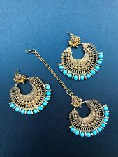 Indian Bollywood New Ethnic Partywear Maang Tikka Earrings Set Fashion Jewelry