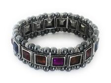 Magnetic Bracelet Therapy Hematite Bead Stone Multi-Color Crystal Stretchable