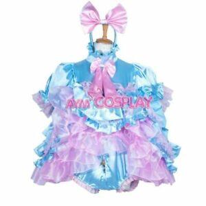 Pink satin sissy maid mini dress CD/TV Tailor-made