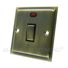 Slimline Antique Brass 20 Amp DP Switch - 20A Double Pole Swi w/ Neon Indicator