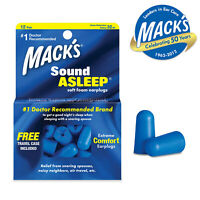 MACKS SOUND ASLEEP EarPlugs - Soft Foam Ear Plugs For Sleeping - Full Block 32dB
