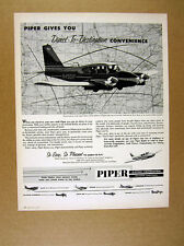 1960 Piper Aztec Airplane Flying Flight Photo Vintage Print Ad
