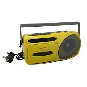 Rare Vintage BUSH Yellow MRC 110 Portable Mono Radio Cassette Player Retro