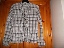 Black/grey/silver check long sleeve shirt with ruffle, GEORGE, size 10