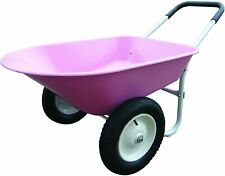 Wheelbarrow Yard Work Cart Dolly Gardening Hauling Landscaping Dirt Wood Pink
