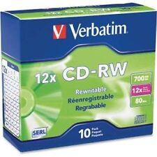 Verbatim CD-RW 700MB 12 x alta velocidad de marca 10-pack Slim Case