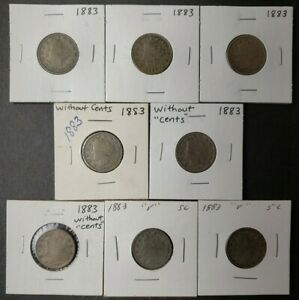 Lot of Eight 1883 5c Liberty Head 'V' Nickels, without CENTS