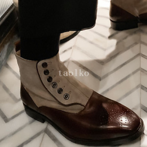 British Button Ankle Chelsea Boots High Top Real Leather Party Pull On Men Shoes