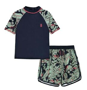 2 Piece Boys SoulCal Foliage T Shirt And Short Swim Set Sizes from 7 to 13