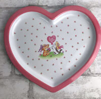 """Vintage Melamine Ware Kid Heart Plate - Pink - Kittens and Hearts 10"""""""
