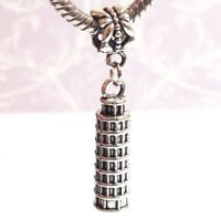 3D Leaning Tower of Pisa_Bead For European Charm Bracelet Necklace_Italy Travel
