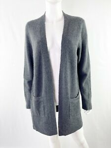 J. Crew Size M Charcoal Gray Knit Cardigan Open Sweater with Pockets