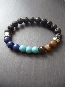 Mens Lapis Lazuli Tigers Eye Gemstone Bracelet Courage Protection Diffuser Beads