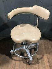 "Vintage White Den-Tal-Ez Posture Comfort Chair Swivel Adjustable 19"" Seat Height"