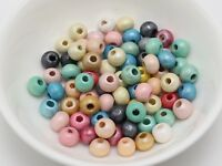 500 Mixed Color Pearlized Luster Wood Beads 6mm ~Wooden Beads Jewelry craft DIY