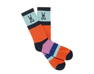 Psycho Bunny Stripped Color-Blocked Navy Men's Socks B6F332Q1PB-NVY One Size