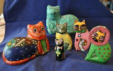 Lot of 6 Intricate Hand Painted Mexican Cat Folk Art Figurines Ceramic & Wood