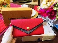 AUTHENTIC LOUIS VUITTON Double V WALLET Red Ruby Clutch Bag Purse Zippy Sarah