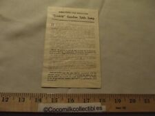 1915 Quicklit Gasoline Table Lamp Directions for Operating Explanation Diagram