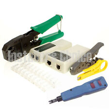 RJ45 RJ11 LAN Network Tool CAT5 Kit Cable Tester Crimper Wire Cutter punch down