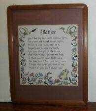 "Mother Poem Cross Stitch Finished Matted & Framed 19.5"" x 15.5"""